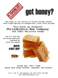 Come Buy Honey at Cookie Confidential Aug 26th